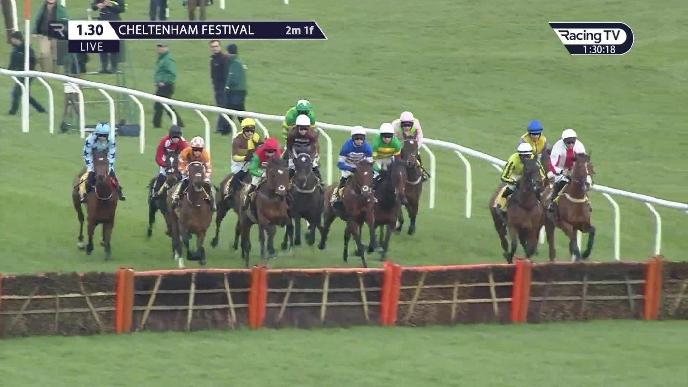 Horses running hurdle race